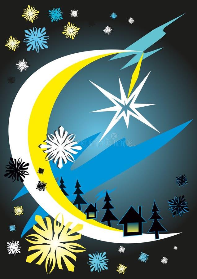 抽象月光夜在森林-导航例证 皇族释放例证