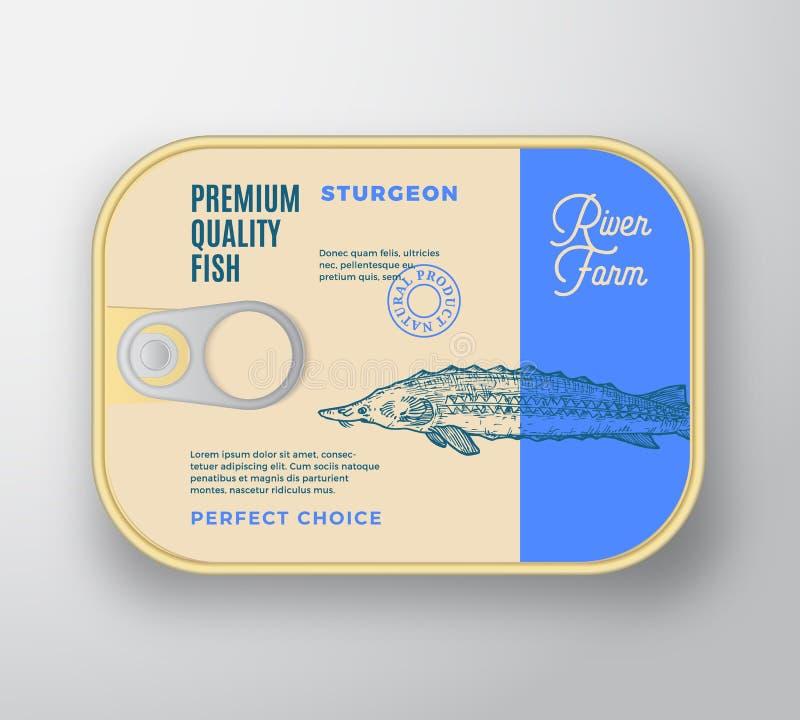 抽象有标签盖子的传染媒介鱼铝制容器 减速火箭的保险费罐装成套设计 r 库存例证
