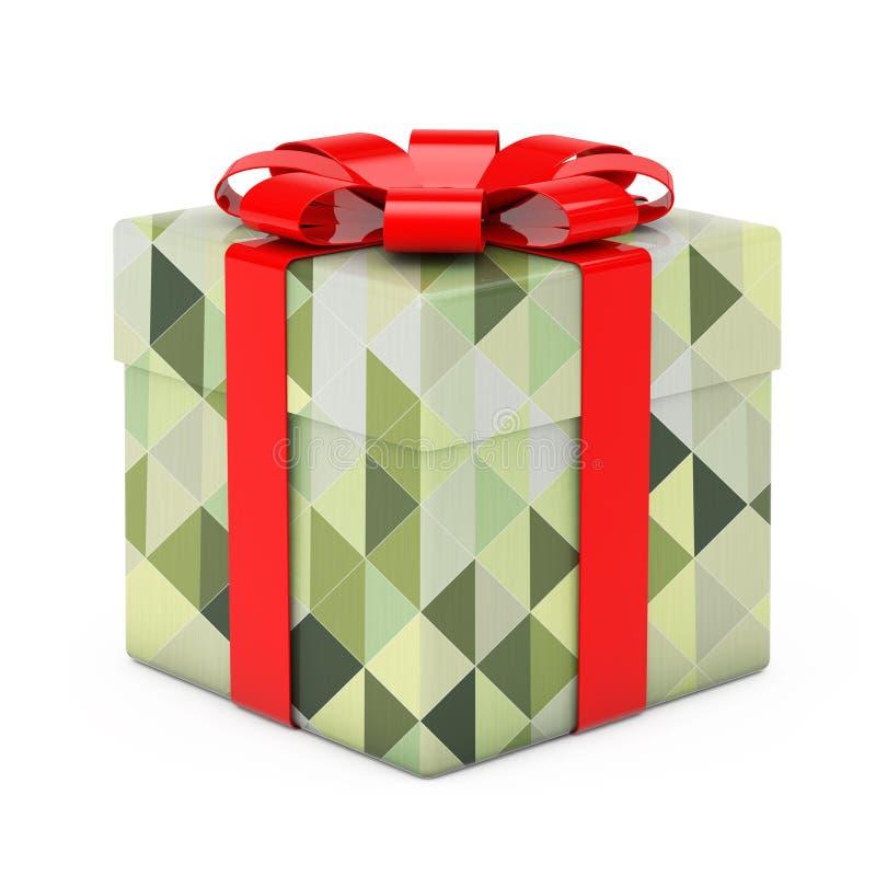 抽象有稀土的橄榄绿多角形几何织地不很细礼物盒 向量例证