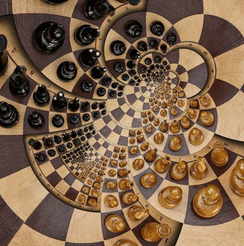 抽象木棋书桌白色黑色计算围绕螺旋方形的螺旋作用样式作用超现实的棋盘书桌分数维b 向量例证