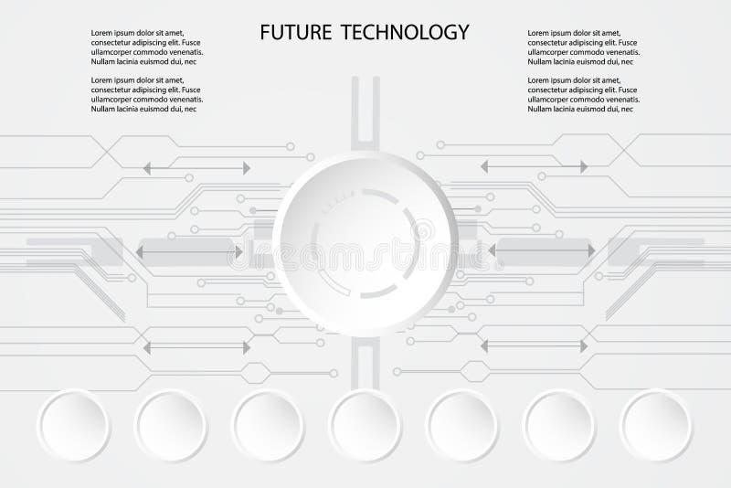 抽象未来技术圈子和电路背景概念创新流程图连接在wor的数字线路工程学 库存例证