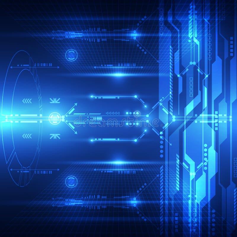 抽象未来技术系统背景,传染媒介例证 库存例证