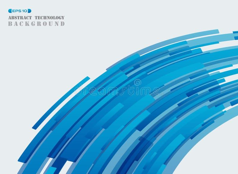 抽象未来派技术蓝色带状线样式盖子bac 向量例证