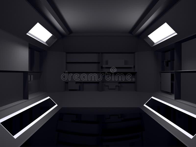 抽象未来派暗室室内设计 3d翻译 fut 向量例证