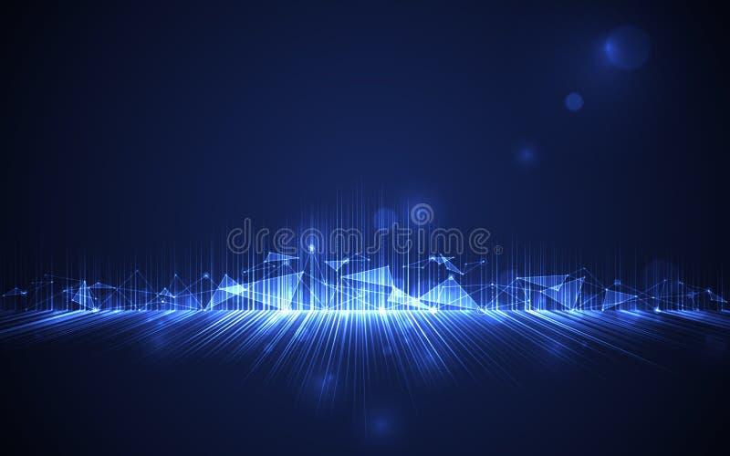 抽象未来派曲线线在黑蓝色背景的多角形连接 皇族释放例证