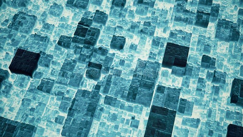 抽象未来派深蓝立方体表面3D例证 皇族释放例证