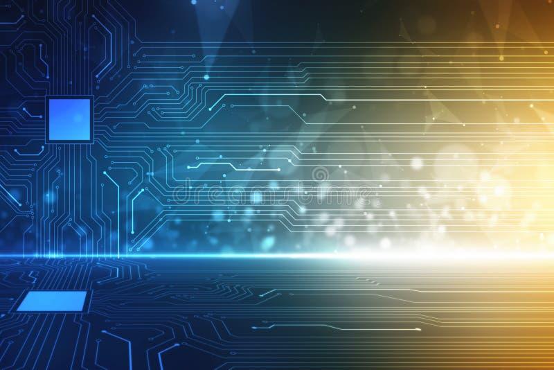 抽象未来派电路板例证,高科技数字技术概念 库存照片