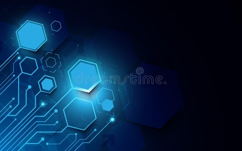 抽象未来派电路板和技术计算机在深蓝背景 皇族释放例证