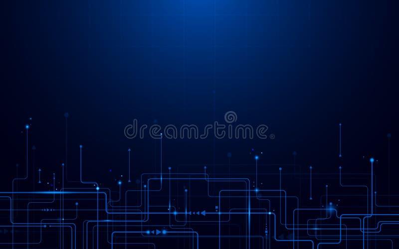 抽象未来派电路板和高科技数字技术概念 背景蓝色黑暗的无限 皇族释放例证