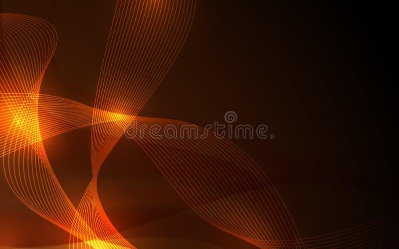 抽象未来派线曲线元素火焰和金子颜色背景 皇族释放例证