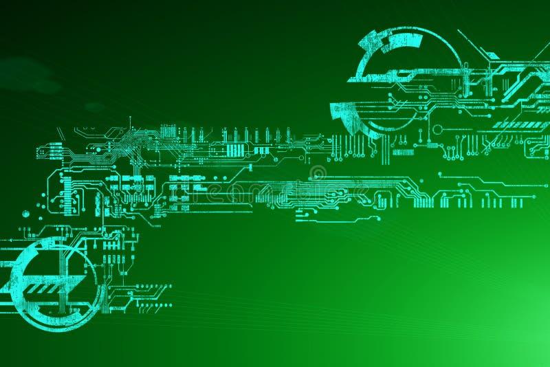 抽象未来派网络技术背景 科学幻想小说电路设计 高科技技术 网络低劣的hud背景 向量例证