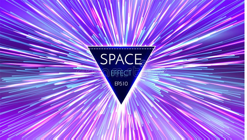 抽象未来派透视和行动轻的背景 在超空间的星经线 空间跃迁 免版税图库摄影