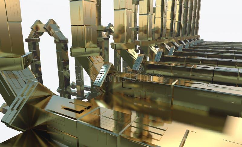 抽象未来派隧道喜欢太空飞船走廊在白色空间的金属反射 3d例证 向量例证