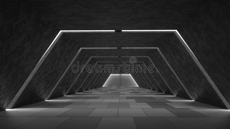抽象未来派黑暗的走廊室内设计 未来概念 3d例证 免版税库存照片