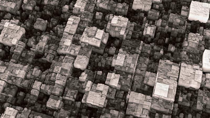 抽象未来派黑白立方体表面3D例证 皇族释放例证