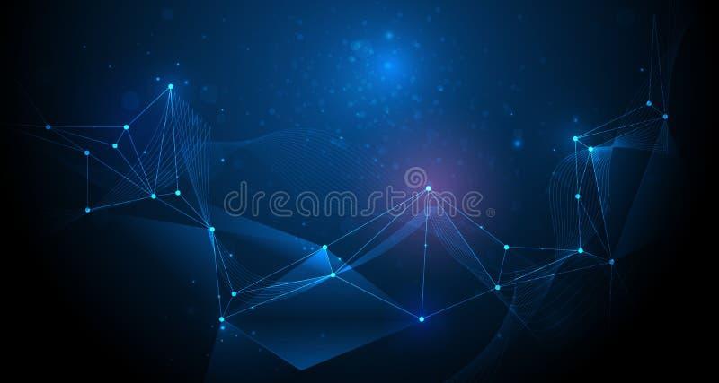 抽象未来派,与多角形样式的分子技术 皇族释放例证