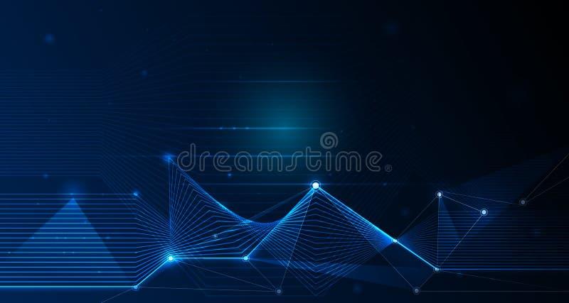 抽象未来派-与线性和多角形样式的分子技术塑造与滤网线和明亮的闪烁 库存例证