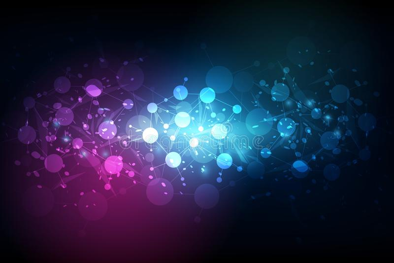 抽象未来派-与线性和polyg的分子技术 向量例证