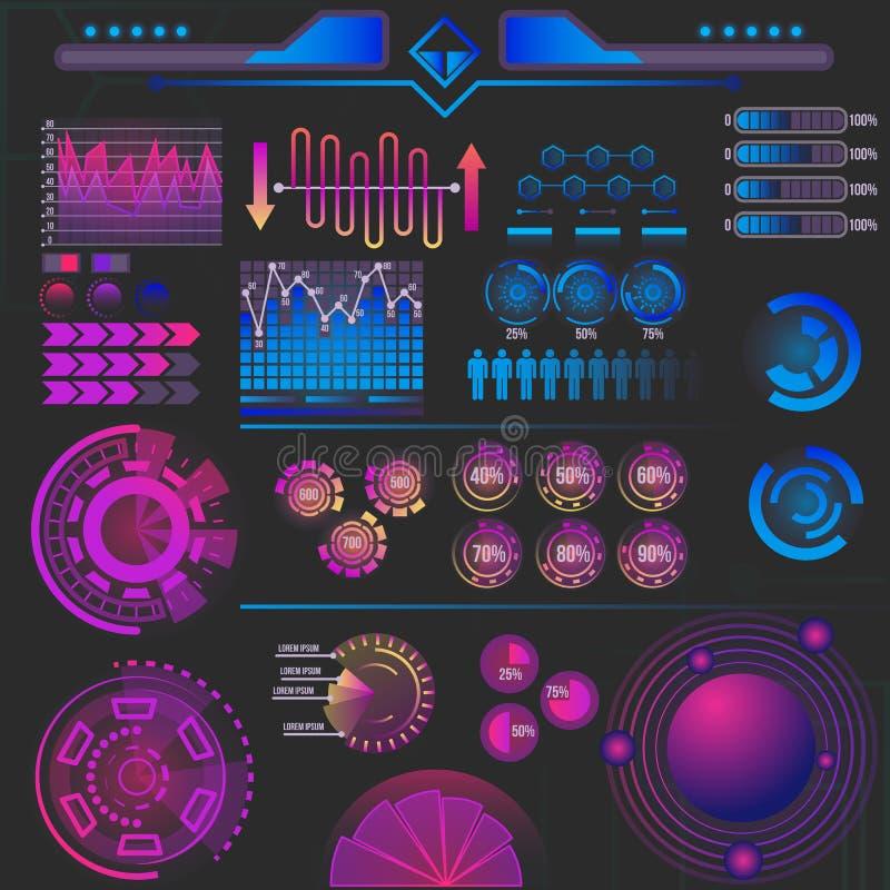 抽象未来派infographics元素 库存例证