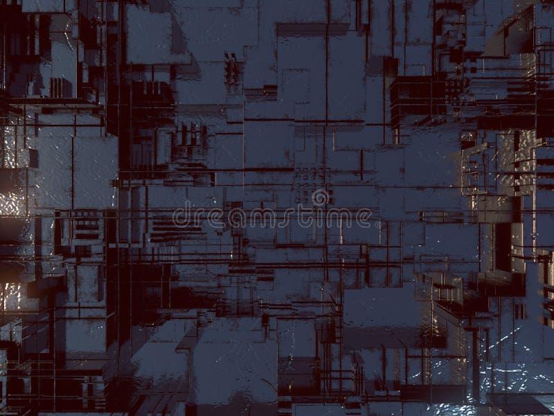 抽象未来派techno样式 数字式3d例证 皇族释放例证