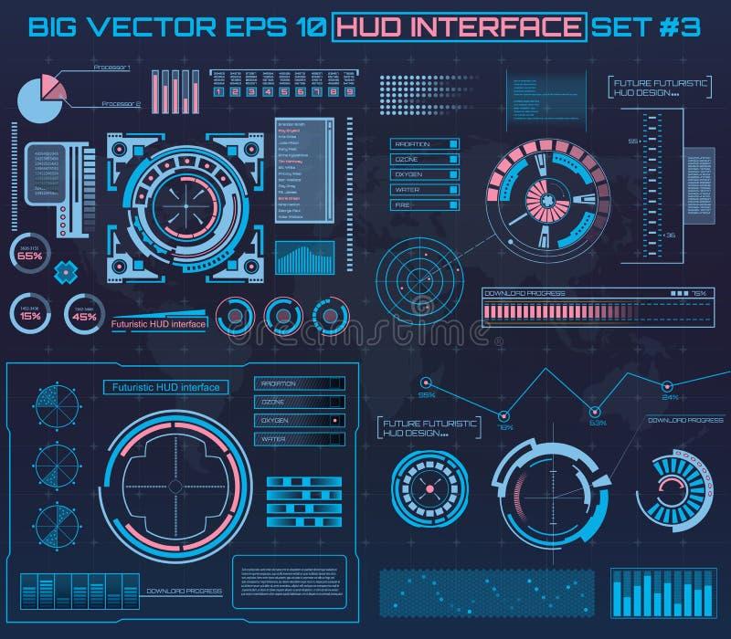 抽象未来,概念传染媒介未来派蓝色真正图表接触用户界面HUD 对网,站点,流动 向量例证