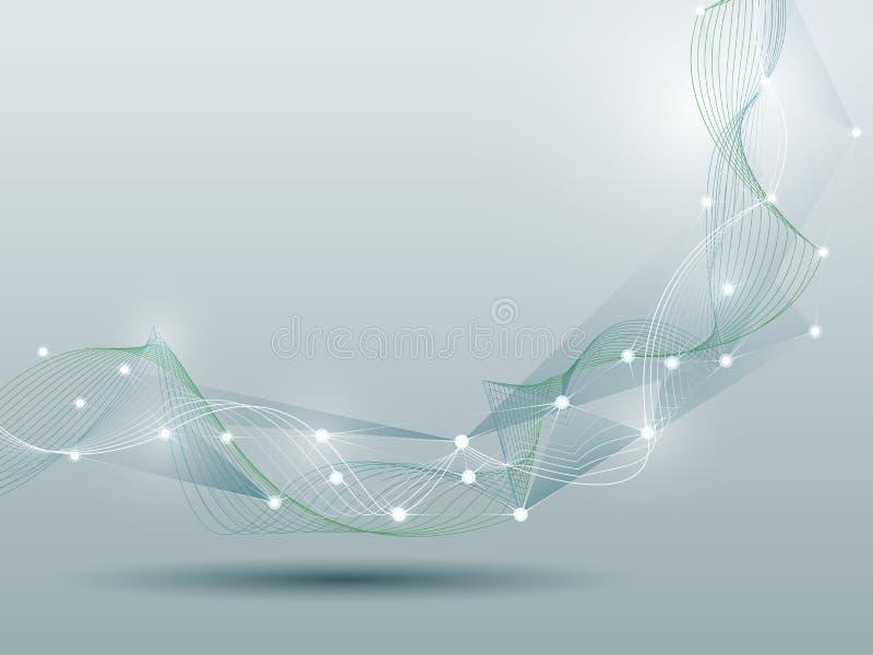 抽象未来派分子和波浪数字技术 皇族释放例证