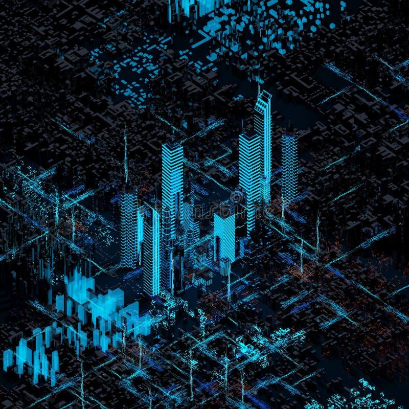 抽象未来派城市 免版税库存照片