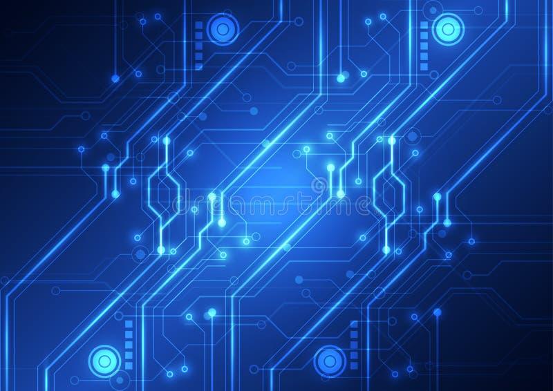 抽象未来派技术电路板背景,传染媒介例证 皇族释放例证