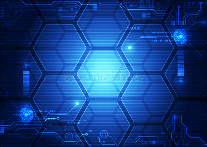 抽象未来派接口HUD技术背景 例证传染媒介 皇族释放例证