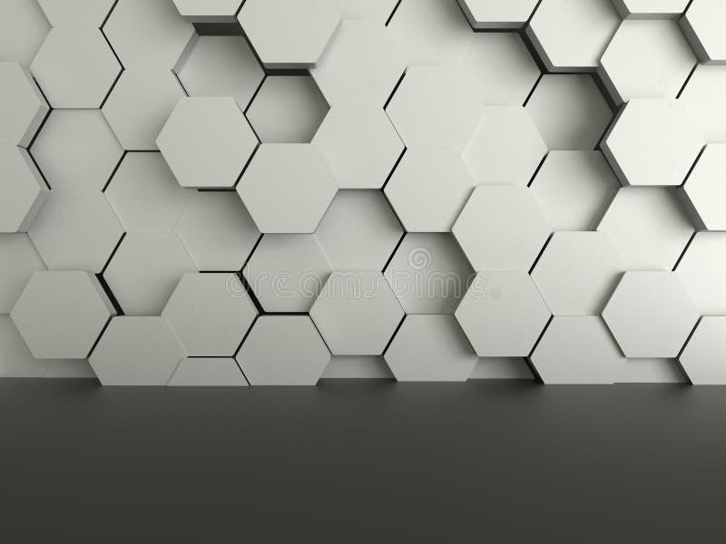 抽象未来派黑暗的地板有六角形混凝土背景 向量例证