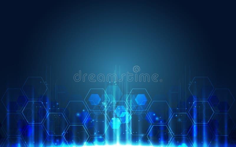 抽象未来派电路板,例证高计算机数字技术概念,传染媒介背景 皇族释放例证