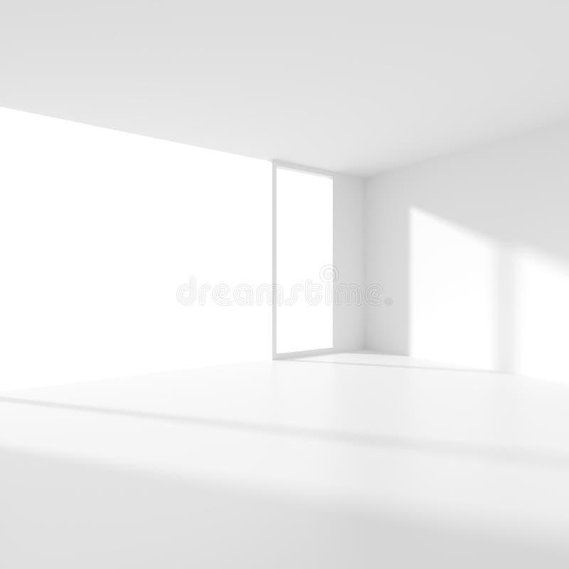 抽象未来派建筑学背景 最小的办公室Inte 库存例证