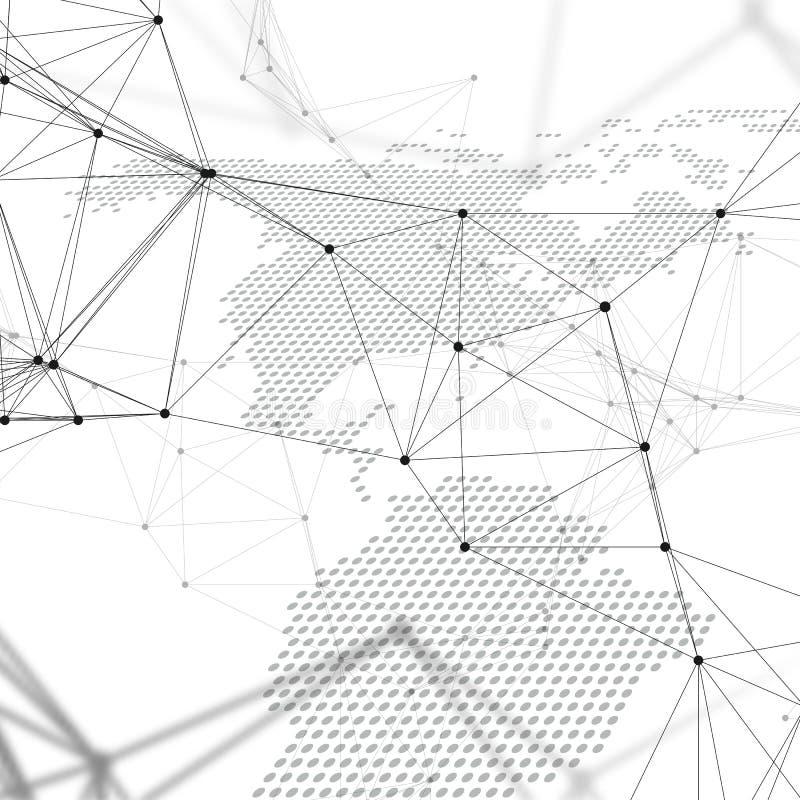 抽象未来派网络形状 高科技背景、连接线和小点,多角形线性纹理 例证映射旧世界 库存例证