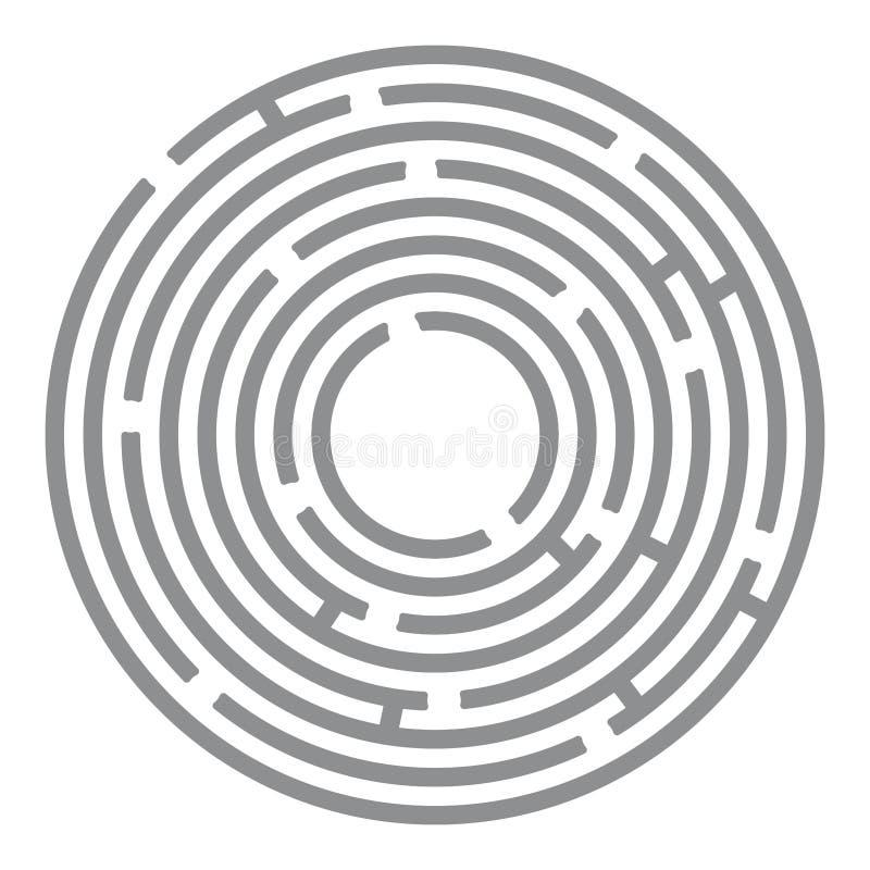 抽象未来派迷宫,在白色的灰色圈子 向量例证
