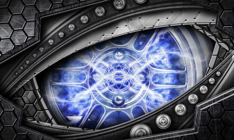 抽象机器人眼睛背景 皇族释放例证