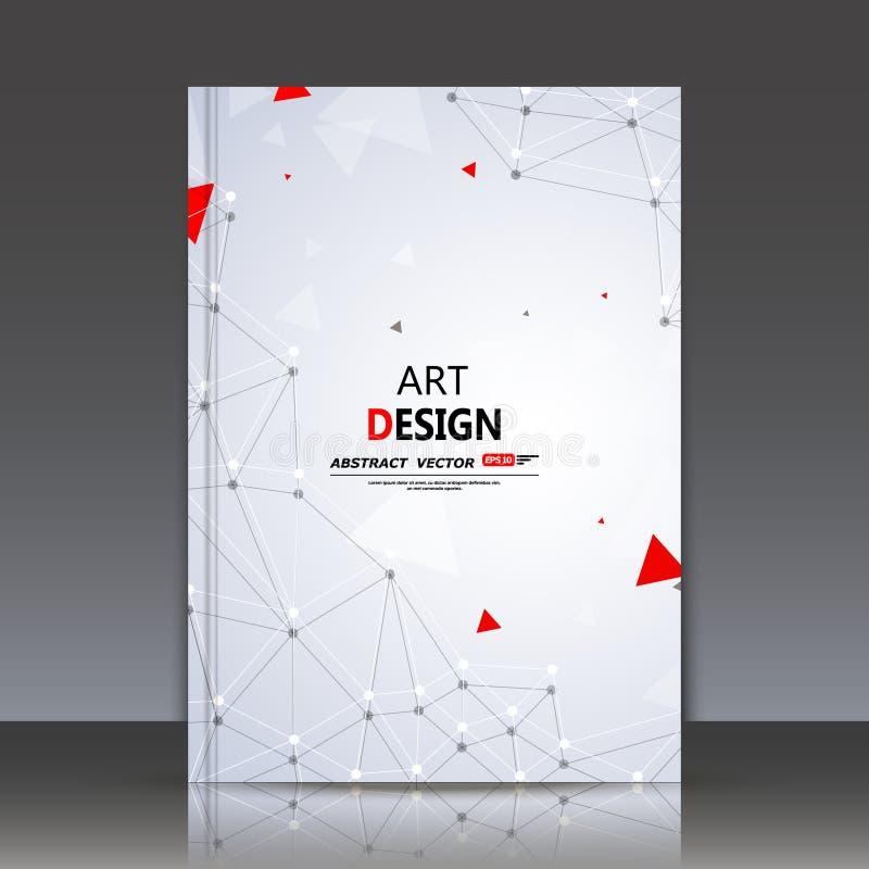 抽象构成、多角形建筑,连接小点和线, a4小册子标题板料,空间背景,激光镭 免版税库存照片