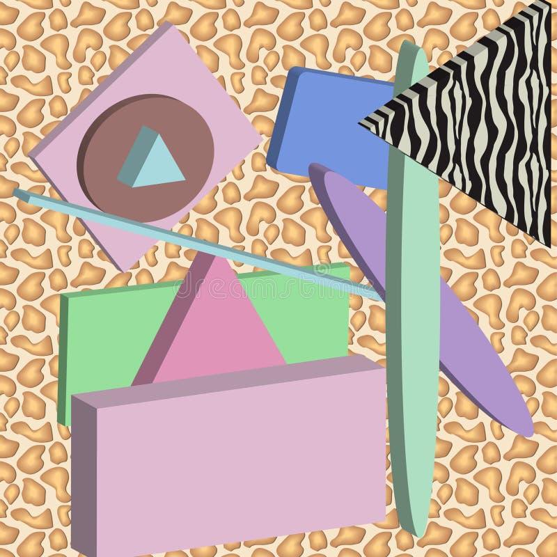 抽象构成 与召回20世纪80年代颜色的幻想的几何图  向量例证