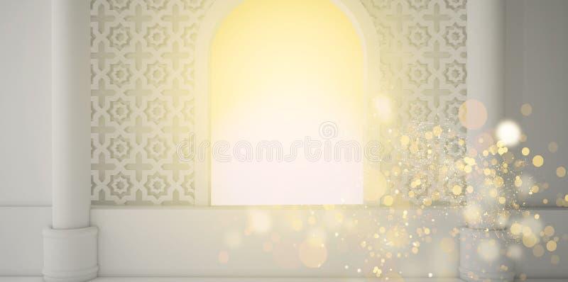 抽象果子背景、pineappleEastern室、开窗口、阳光和魔术射线 3d翻译 向量例证
