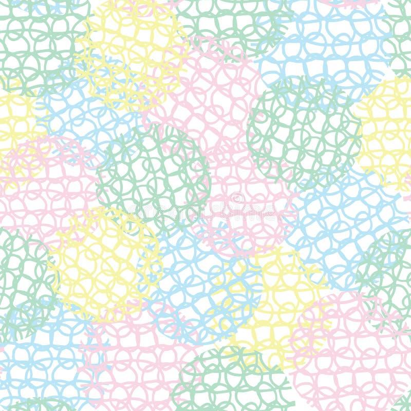 抽象柔和的淡色彩色的乱画圈乱写球形无缝的重复纹理样式背景 向量例证