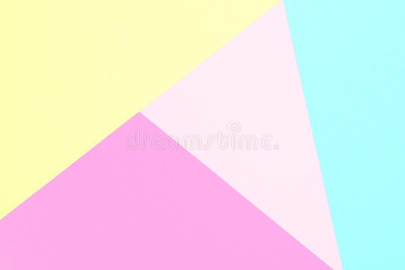 抽象柔和的淡色彩色纸纹理简单派背景 最小的几何形状和线 图库摄影