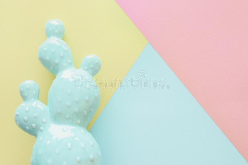抽象柔和的淡色彩色纸纹理 最小的几何形状和线 时髦设计观念 仙人掌stillife 图库摄影