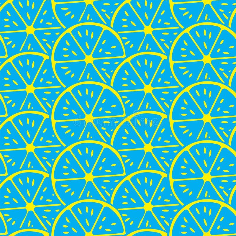 抽象柠檬切片无缝的传染媒介样式 新夏天感觉样式 向量例证