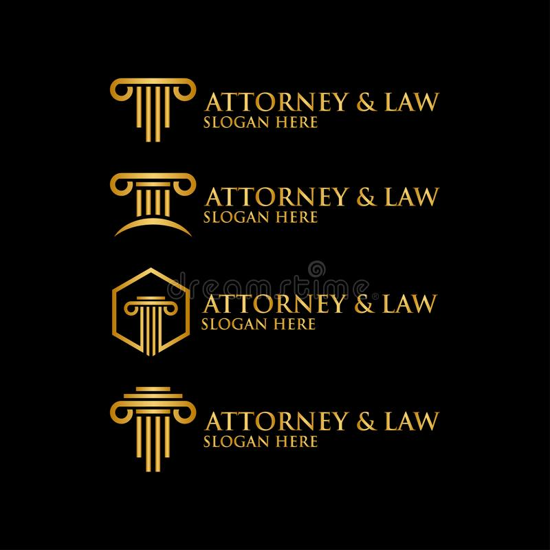 抽象柱子律师法律商标模板 皇族释放例证