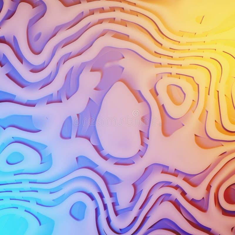 抽象柳条波浪卷曲背景, quilling的丝带,螺旋线装饰3d例证 向量例证