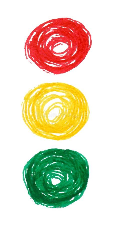 抽象标志弄脏红绿灯 皇族释放例证