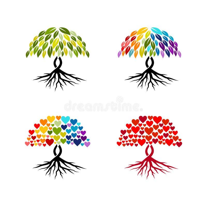 抽象树传染媒介收藏,五颜六色的抽象树传染媒介 皇族释放例证