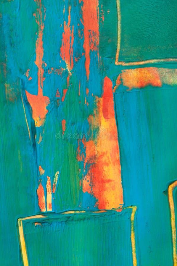 抽象树胶水彩画颜料绘画,细节 库存图片