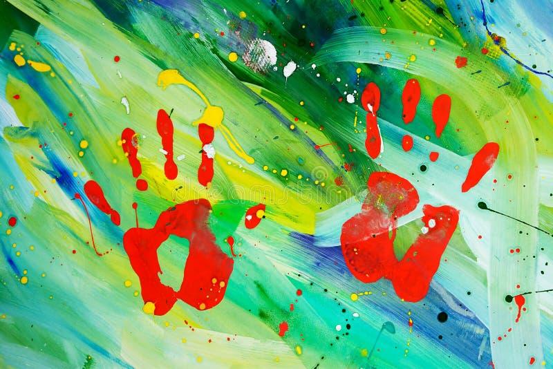 抽象树胶水彩画颜料绘画 免版税库存照片