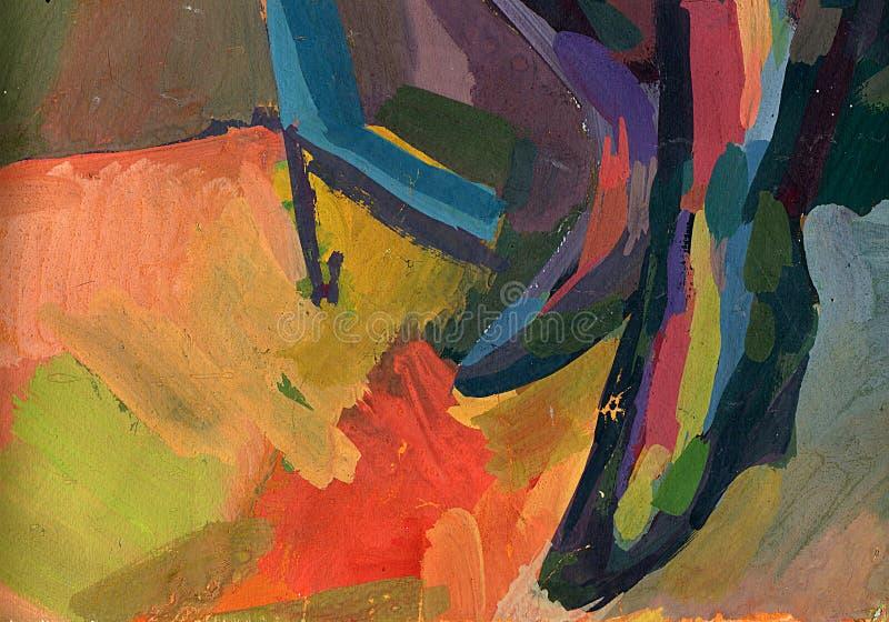 抽象树胶水彩画颜料绘画背景 在帆布纹理的油漆 手拉的油画 颜色纹理 皇族释放例证