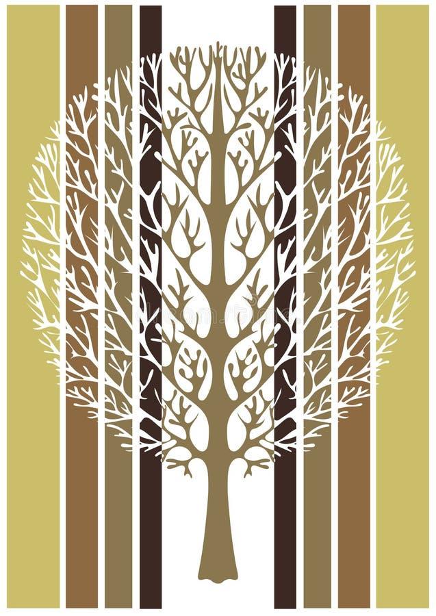 抽象树,传染媒介例证,葡萄酒传统化了图画 与分支的华丽树以绿色,白色为背景和 皇族释放例证
